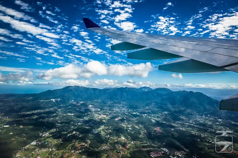 Flying Thai Airways over Taiwan