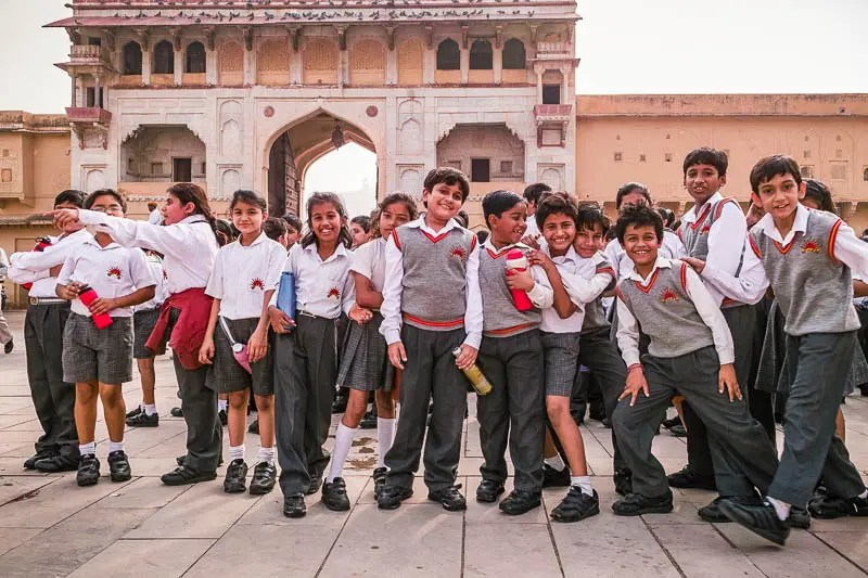 Schoolchildren visiting the Amber Fort in Jaipur