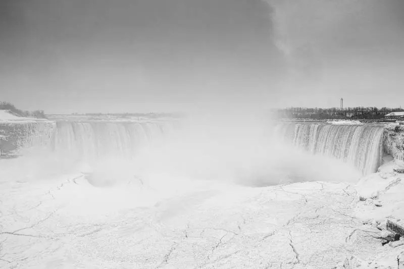 The Horseshoe Falls (Niagara Falls) and Niagara River during the polar vortex