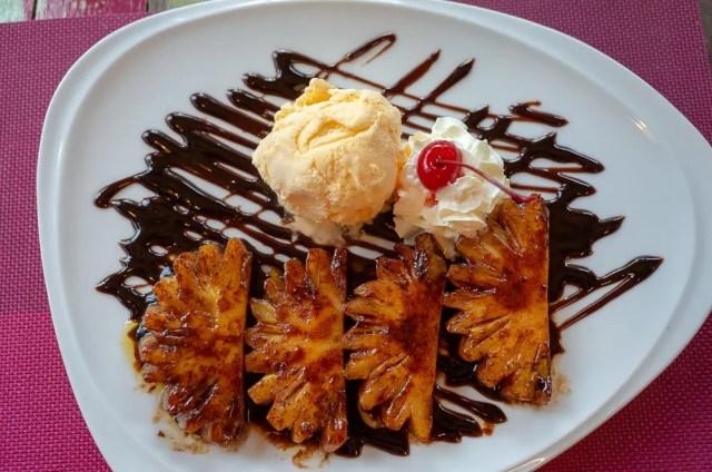 Pineapple flambe ice cream, Mon Café