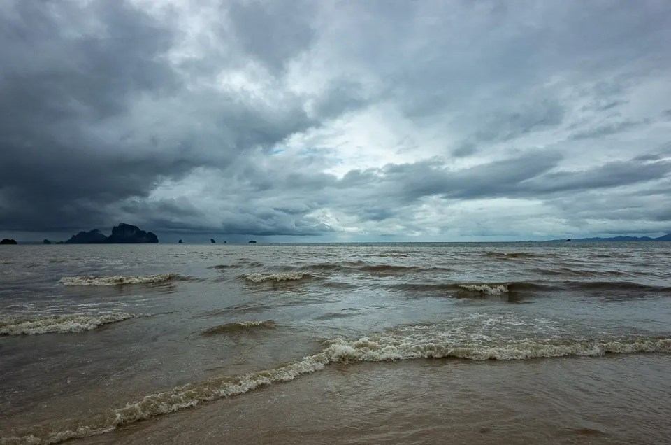 Andaman Sea during Pabuk tropical storm, Ao Nang