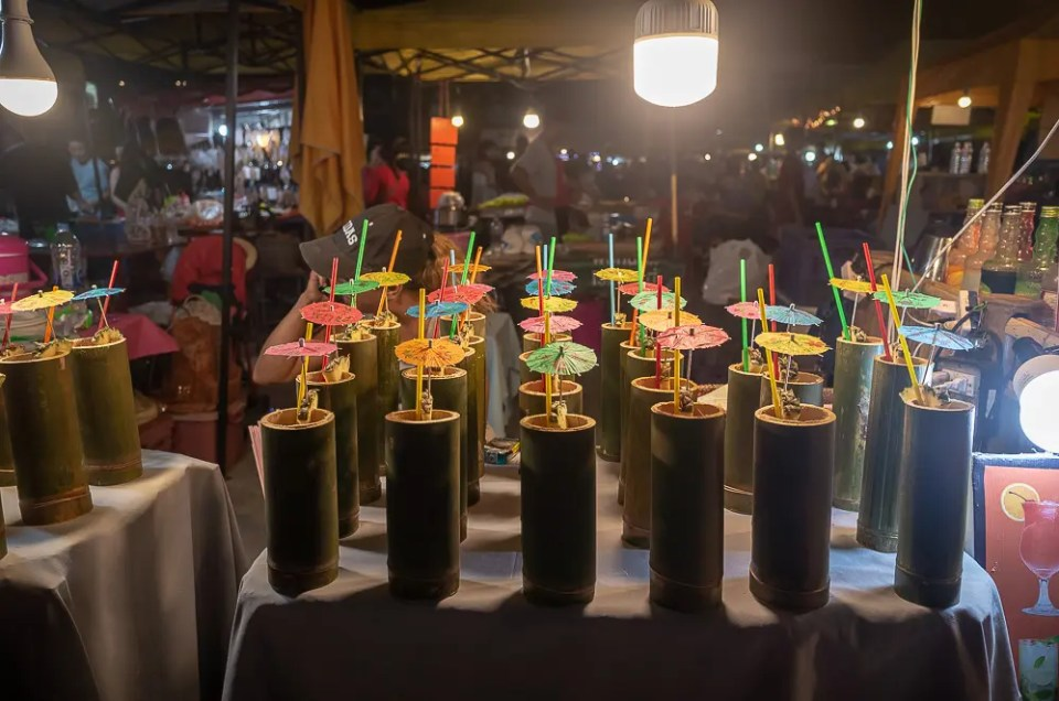 Thai cocktails in bamboo glass