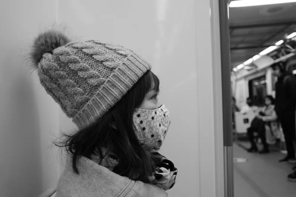 Girl in the subway train