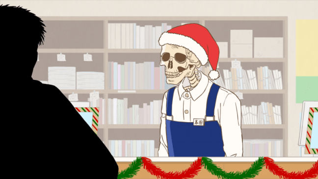 Skull-face Bookseller Honda-San Episode 12 Honda in Christmas Hat