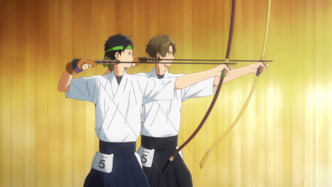 Tsurune Episode 13 Minato and Shu draw the final arrow.
