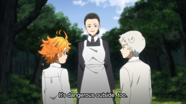 The Promised Neverland Episode 8 Emma, Isabella and Norman
