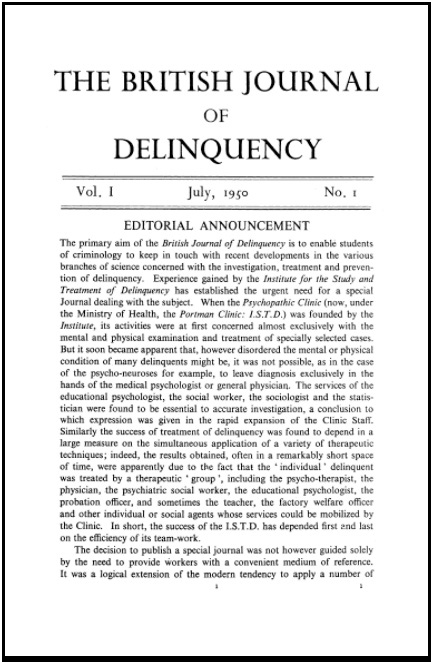 The British Journal of Delinquency