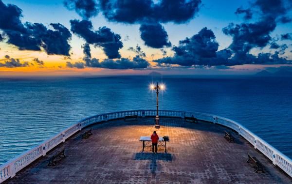 la guardiola di Piraino al tramonto