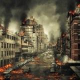 被災した街