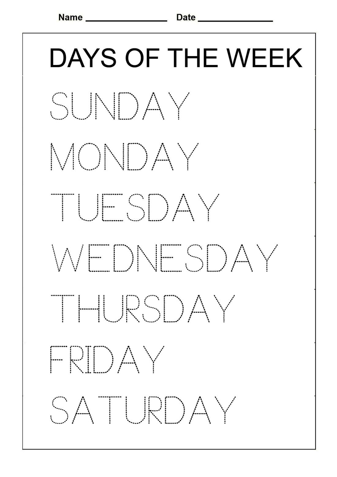 Days Of The Week Worksheet Activities
