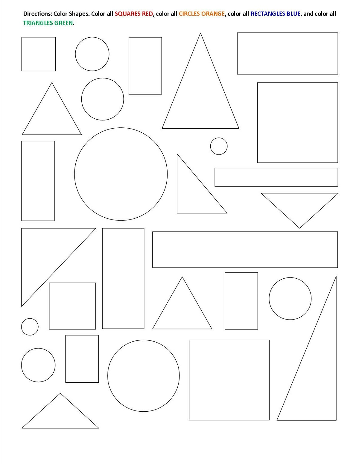 Color The Shapes Worksheets For Kids