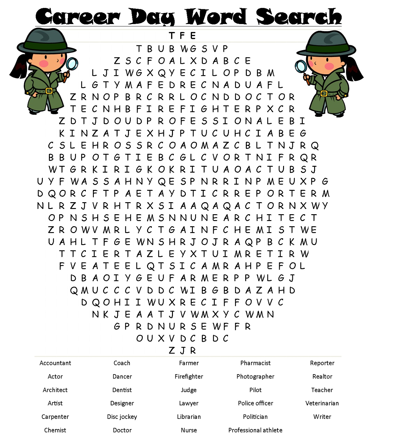 Fun Job Word Search For Kids Printable