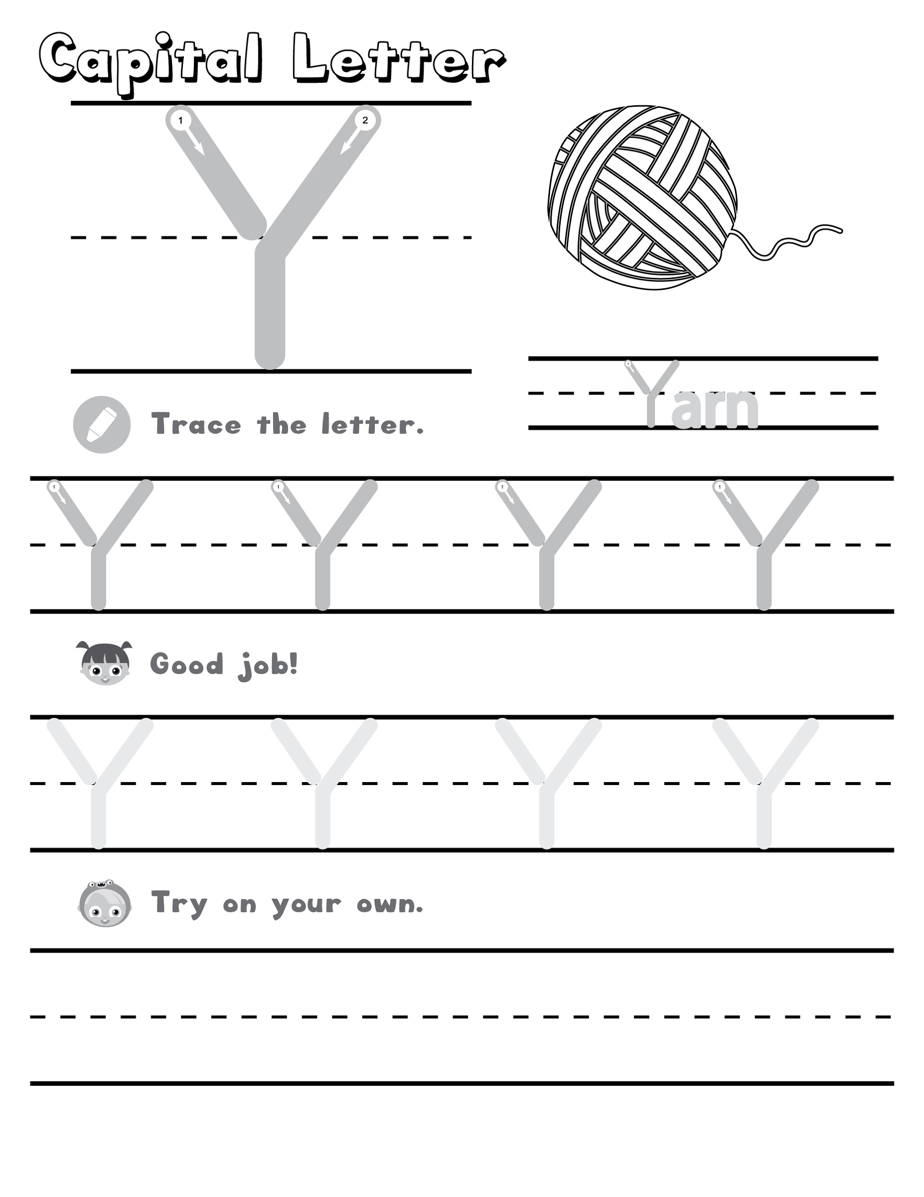 Letter Y Worksheets Alphabet