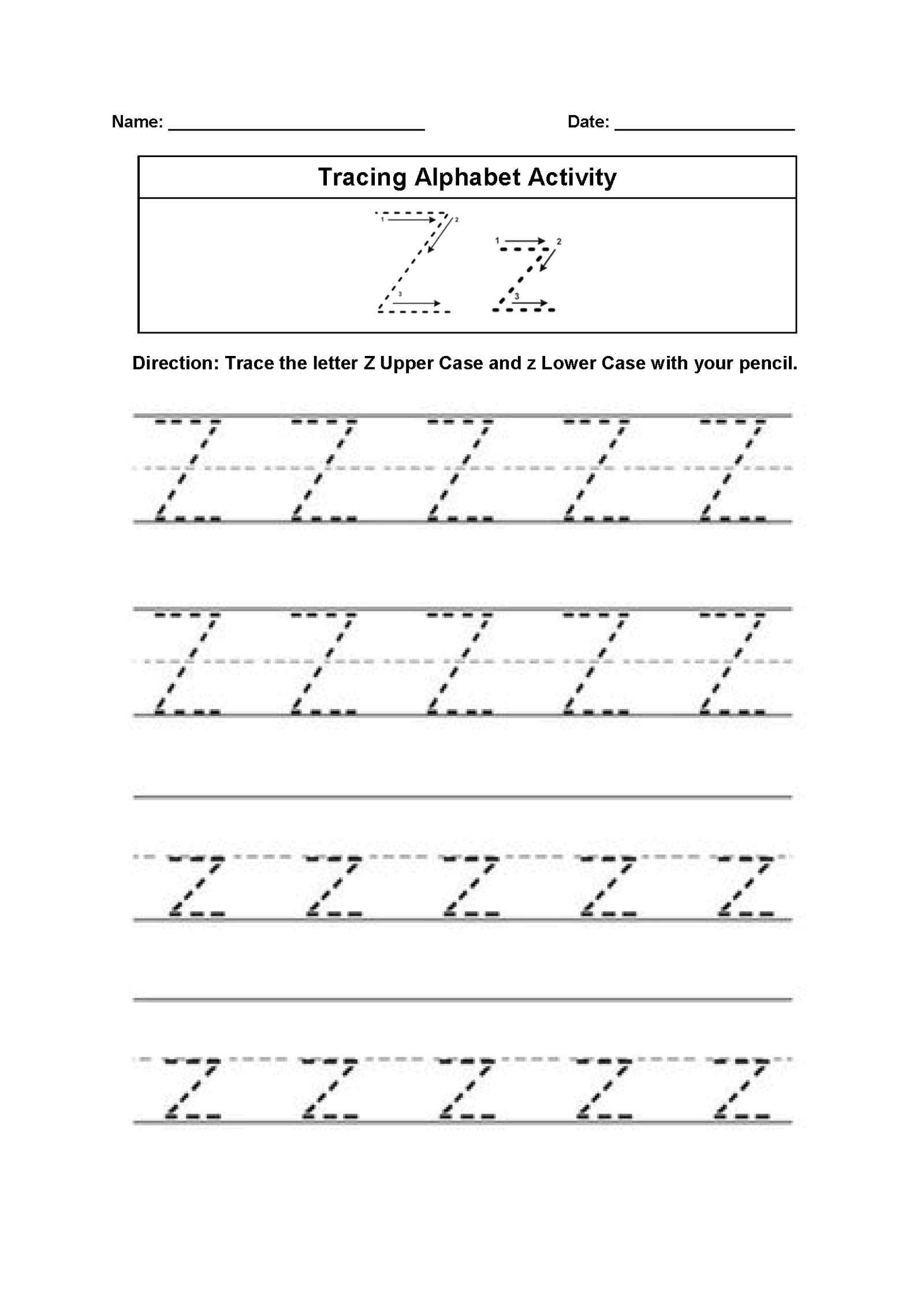 Letter Z Worksheets Alphabet