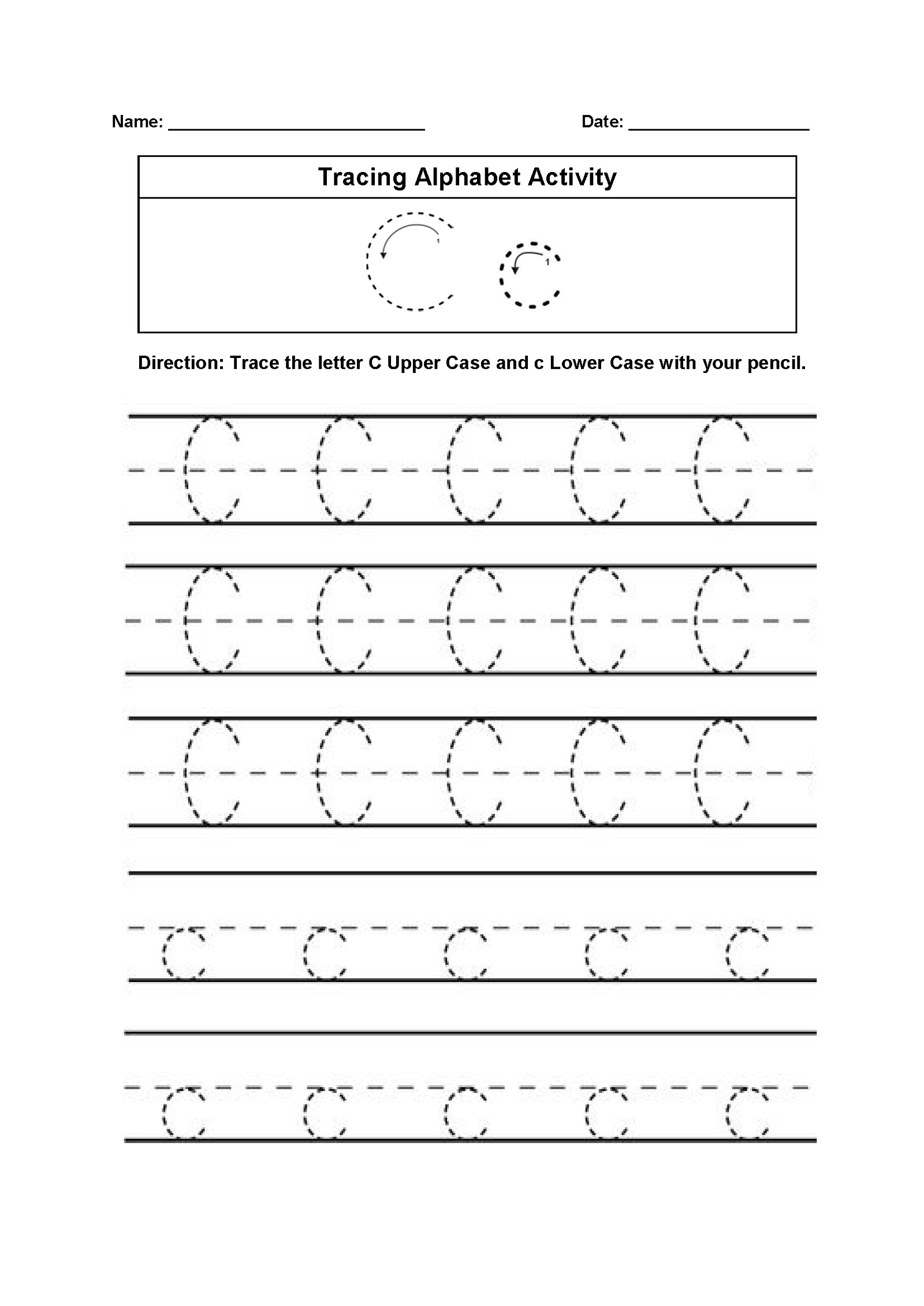 Trace The Letter C Worksheets Printable