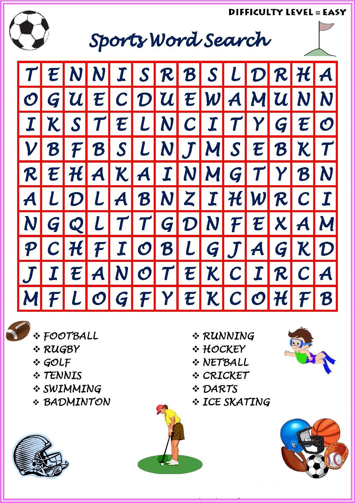 Sport Word Searches Game Puzzle