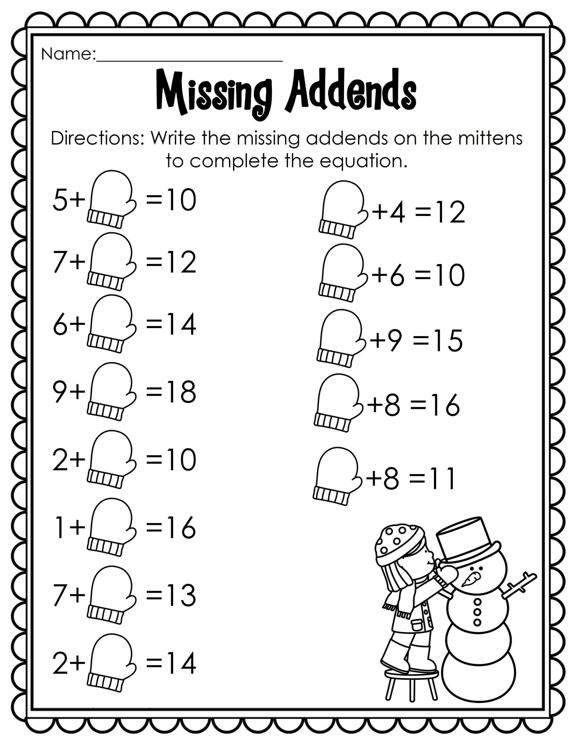 Fun Math Worksheets For Kindergarten