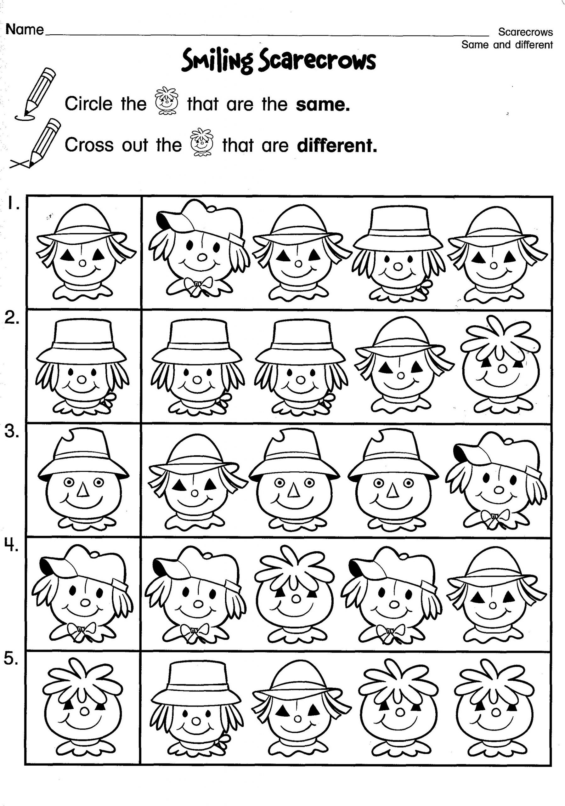 Fun Same And Different Worksheets For Kids