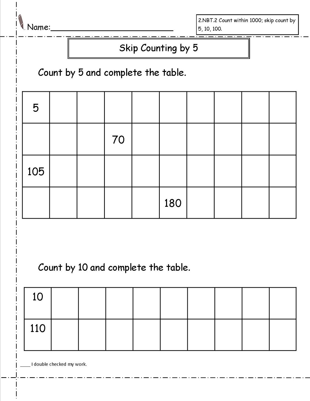 Printable Count By 5 Worksheets