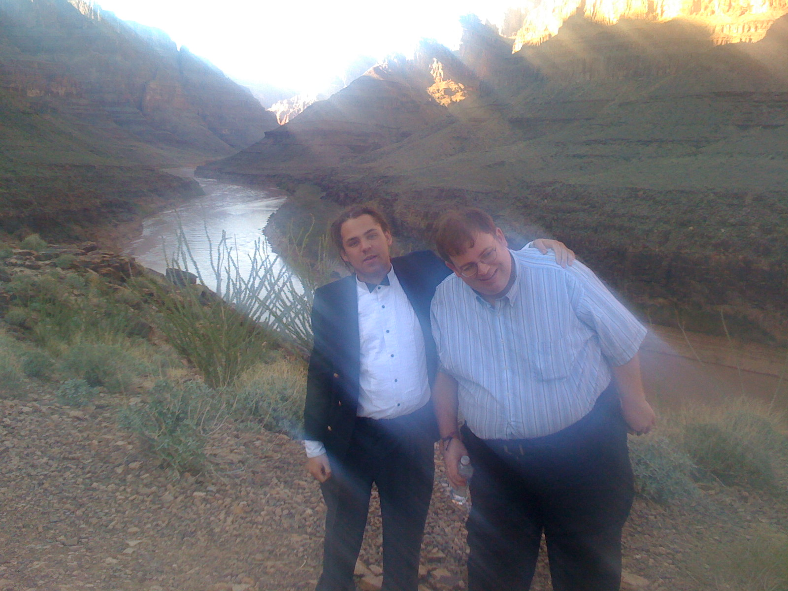 Jules (bowtie) and Paul check out the Grand Canyon