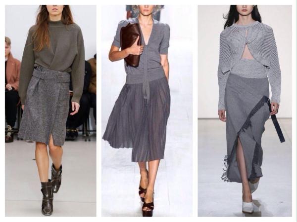 Серая юбка выбираем фасоны и составляем комплекты