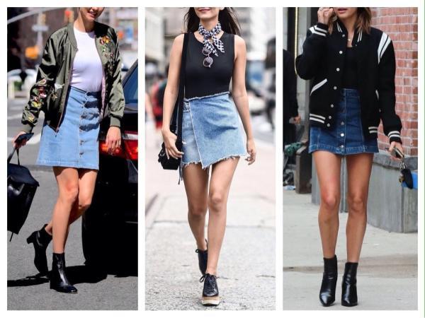 Джинсовая юбка - актуальные фото с чем носить различные фасоны