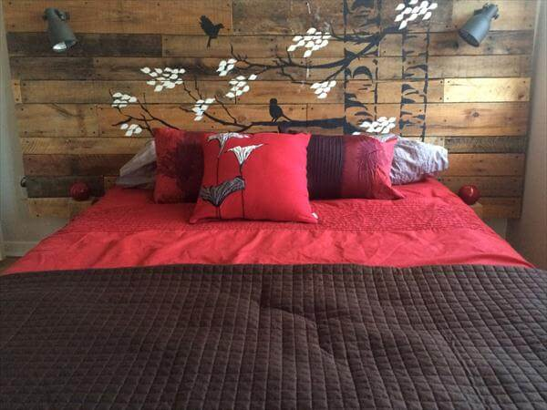 DIY Pallet Headboard With Hand Painted Stencil 101 Pallets
