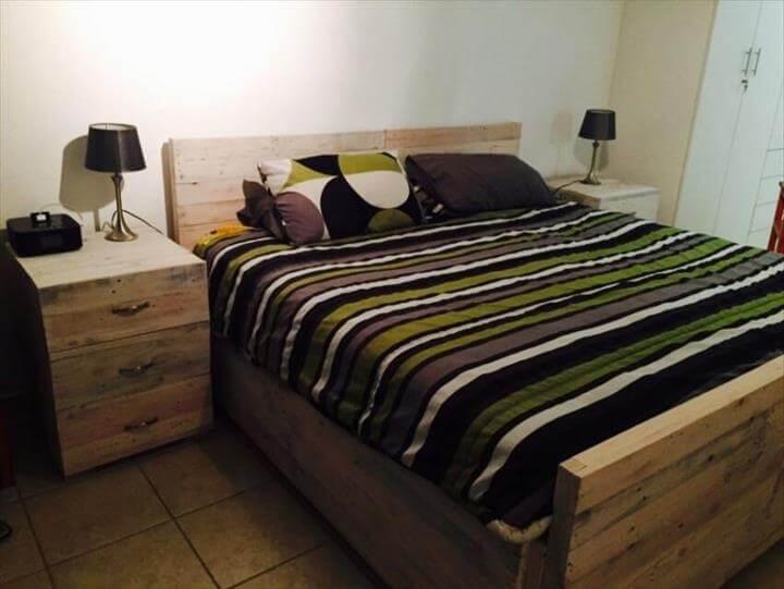 DIY Wooden Pallet Bed Set | 101 Pallets on Pallet Bedroom  id=76560