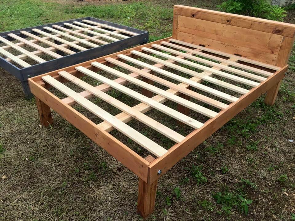 Queen Size Wooden Pallet Bed Frames   101 Pallets on Pallet Bed Design  id=43732