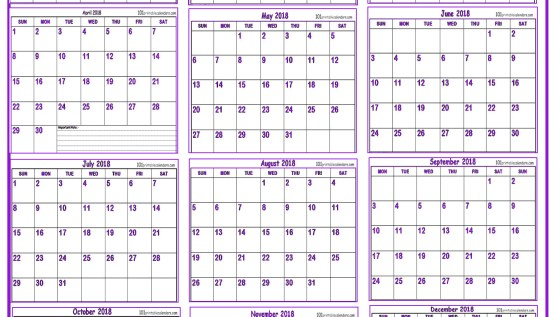 12 months calendar 2018 template in one page templates