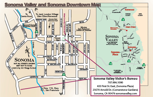 Map of Sonoma Downtown and Sonoma Valley 101 Things To Do Wine Country