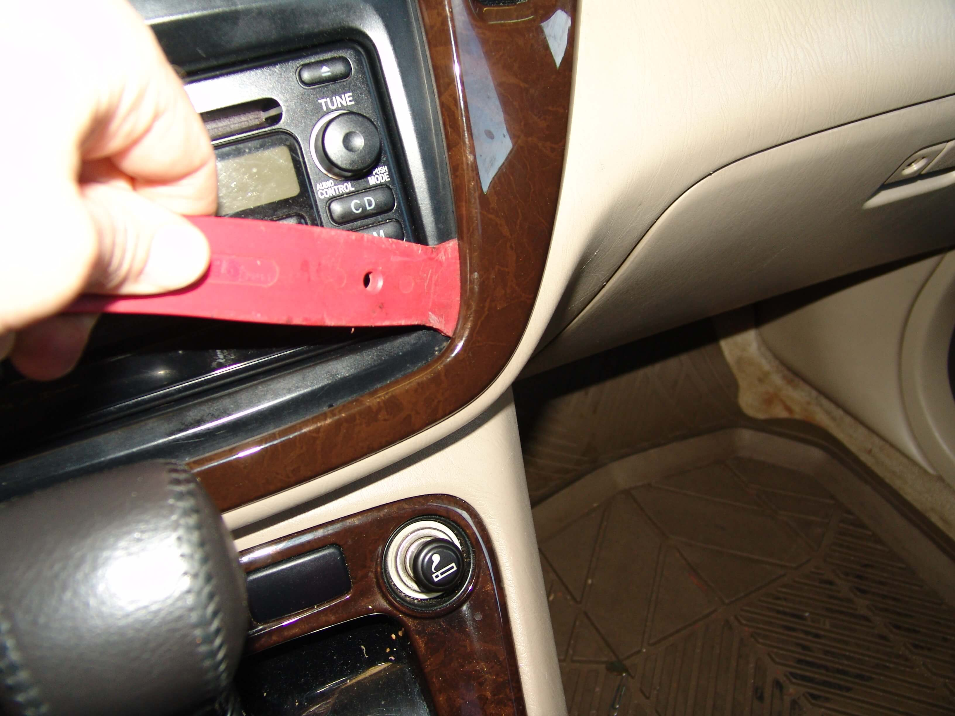 Sparkys Answers 2002 Toyota Highlander Temperature Stuck On Hvac Fuse Diagram The Trim Panel Around Control Is Secured With Plastic Spring Tab Clips I Used A Pry Bar At Location Below To Work