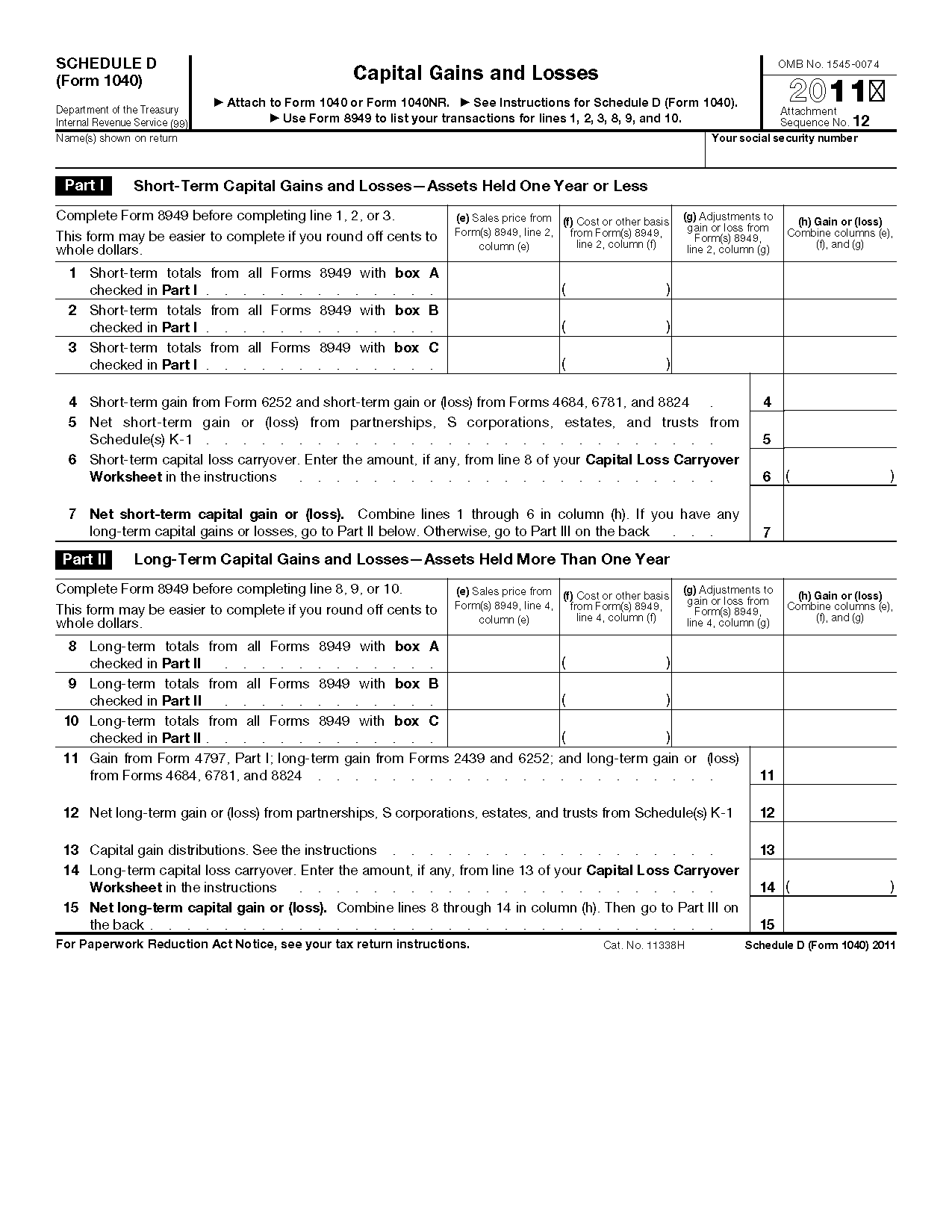 Form Schedule D Capital Loss Carryover Worksheet