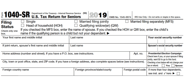 1040 SR Tax Form For 2019 Printable | 1040 Form Printable