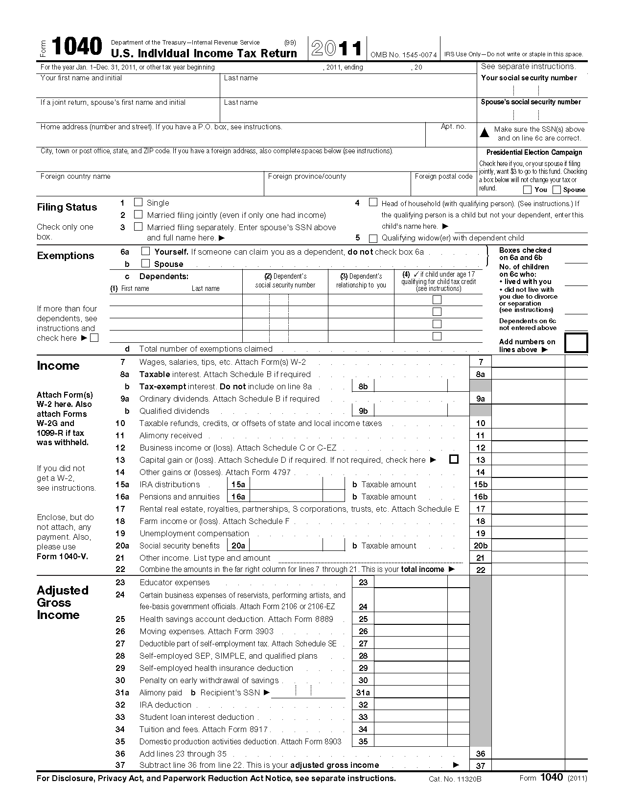 Form U S Individual Income Tax Return