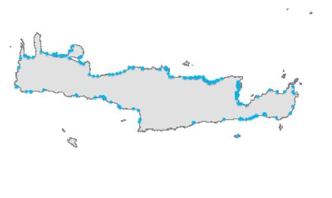 ο χάρτης με τις παραλίες που παρακολουθούνται στη Κρήτη