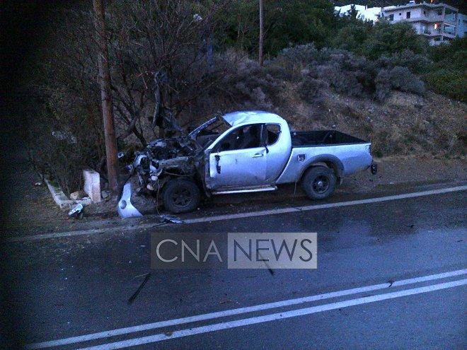 το αυτοκίνητο μετά την έκρηξη φωτό CNA