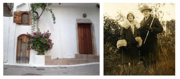 εικ.5,6: Το πατρικό σπίτι του Κώστα Κουτουλάκη, όπως είναι σήμερα, στη συνοικία «Αφέντης Χριστός» της Κριτσάς / Με τη σύζυγό του Αιμιλία τη δεκαετία του 1950 (προσωπική συλλογή Ά.Βούλγαρη)..