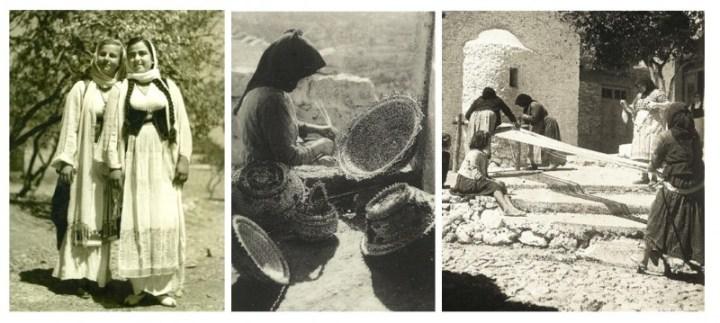 εικ.9,10,11: Σκηνές καθημερινού βίου στην Κριτσά , 1945-1950 ( εικ.9/Προσωπική συλλογή ΄Αννας Βούλγαρη, εικ.10,11 /Από το βιβλίο των Ν.&Μ. Ψιλάκη, Κρητική παραδοσιακή κουζίνα, εκδ.Καρμάνωρ,2009).