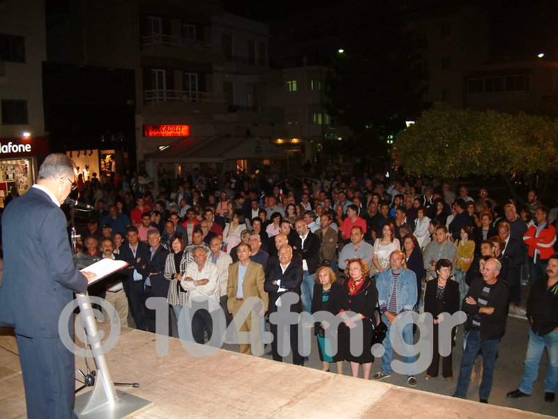 ο υποψήφιος δήμαρχος Αγίου Νικολάου κατά την ομιλία του