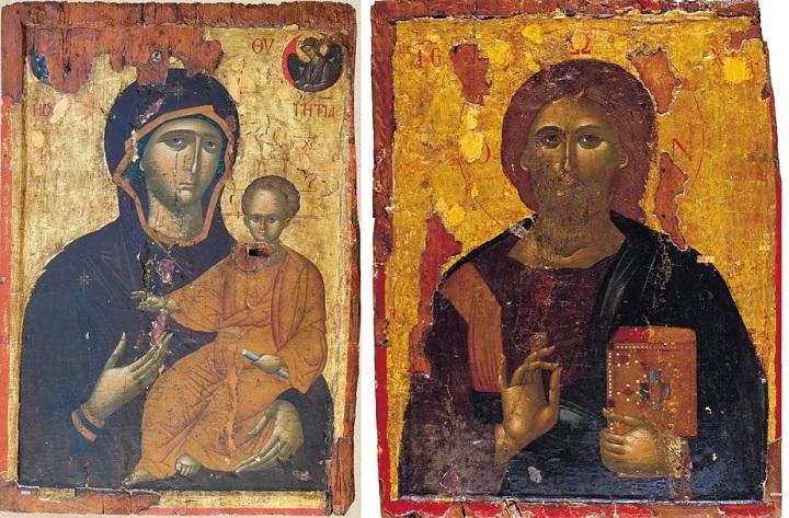 οι εικόνες της Παναγίας Οδηγήτριας και του Χριστού Παντοκράτορος που εκλάπησαν από τον Ενοριακό Ιερό Ναό Αγίων Πάντων Ανατολής Ιεράπετρας