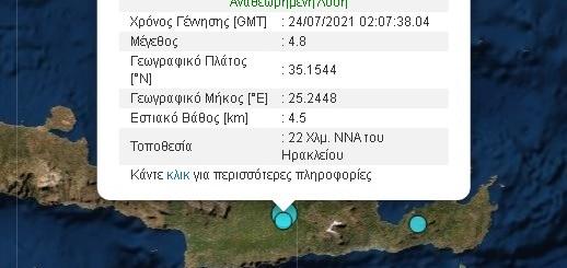 Ισχυρός σεισμός αισθητός σε όλη τη Κρήτη