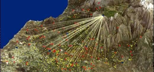 προβολή αρχαίας φρυκτωρίας σε δορυφορική φωτογραφία