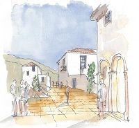 Καλλιτεχνική απεικόνιση ενός από τα χωριά