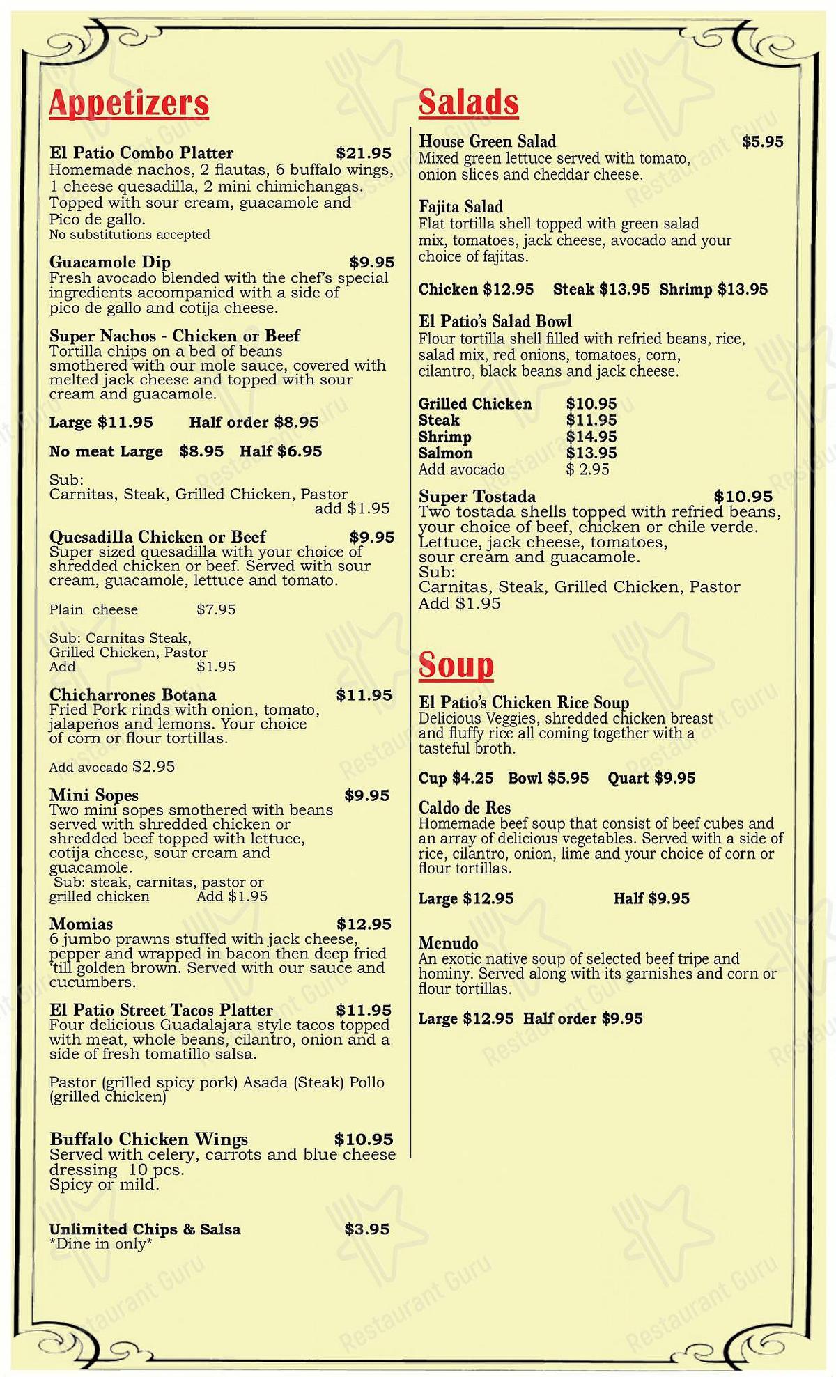 menu at el patio tracy pub bar tracy