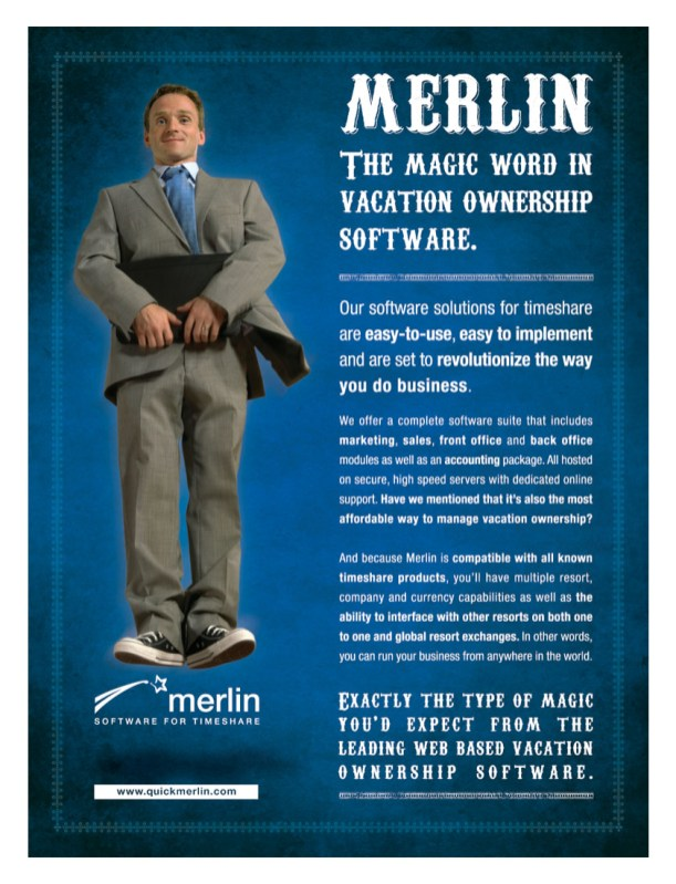 Ad for the current campaign for Merlin Software
