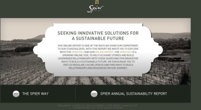 Spier in Search of Sustainability report introduction.
