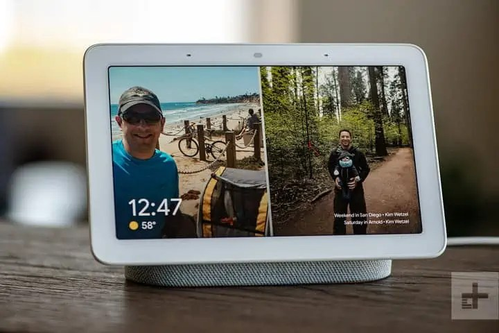 google-home-hub-tablet-as-display of the baby's videos from the camera