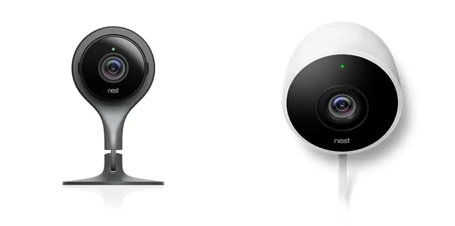 Pictures of Nest Cam Indoor (Black) and Nest Cam Outdoor (White)