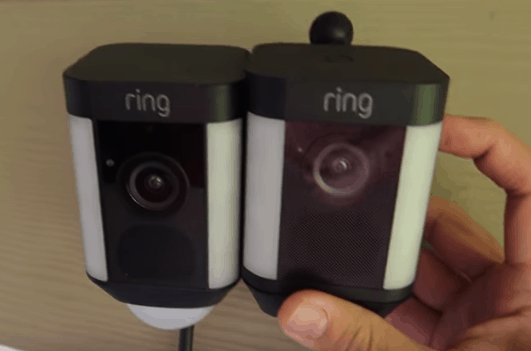 Ring Spotlight Cam hardwired and Ring Spotlight Wired appearing side by side.
